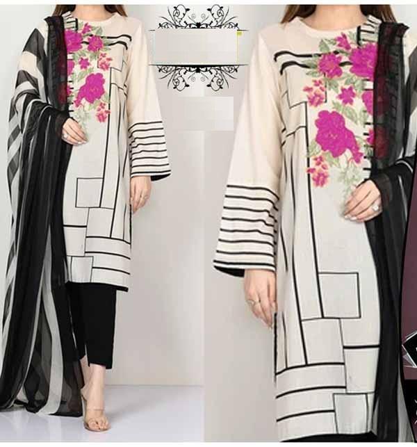 LAWN Embroidery Dress Soft Chiffon Dupatta UnStitched (DRL-801)