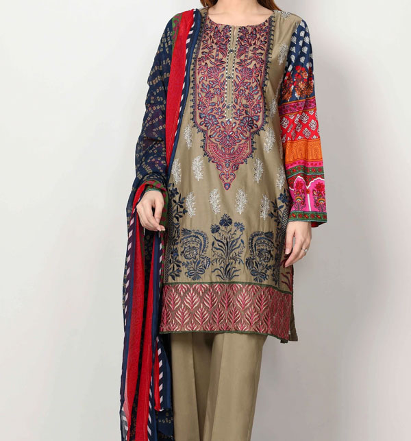 Embroidery Lawn 3PC  Suit With Lawn Dupatta UnStitched (DRL-631)