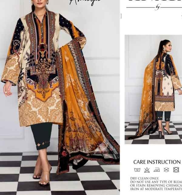 Lawn 90/70 Digital Printed Suit 2021 With Chiffon Duppata (Unstitched)  (DRL-673)