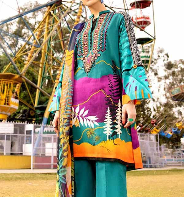 Lawn 90/70 Digital Printed Suit With Lawn Duppata (DRL-867)