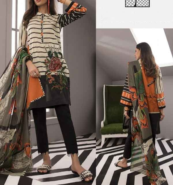 Lawn 90/70 Embroidered Suit With Chiffon Dupatta (DRL-681)