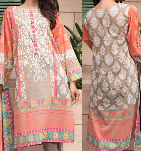 Lawn  90/70 Embroidery Suit With Printed Chiffon Duppata (DRL-685)
