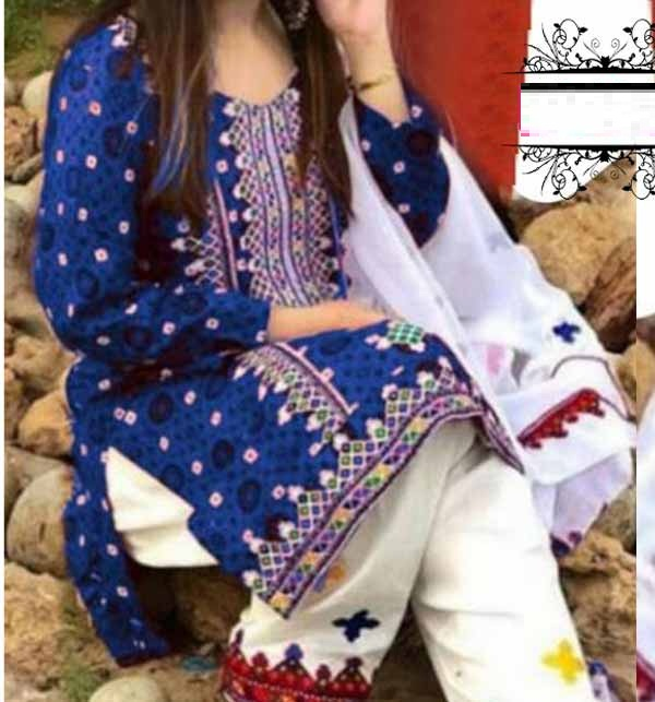 Lawn Ajrak Embroidery Suit Chiffon Dupatta UnStitched (DRL-902)
