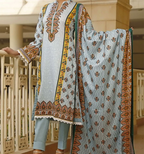 VS Classic Printed Lawn Suit With Lawn Dupatta 20-116A