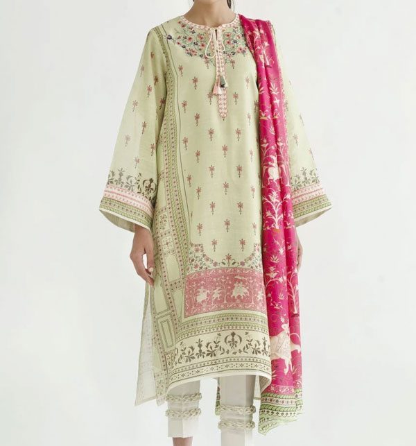 Lawn Emboidery Suit With Chiffon Printed Duppata (DRL-478) (Unstitched)