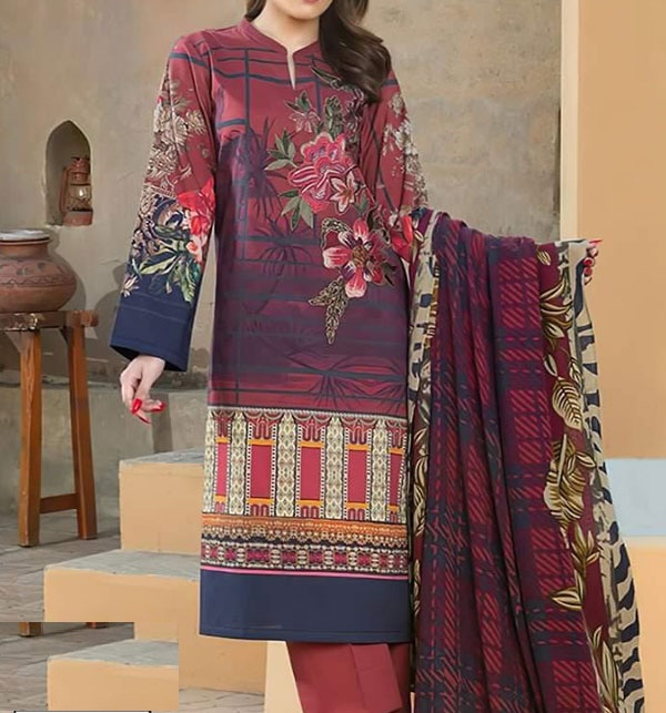 Lawn Emboidery Suit With Chiffon Printed Duppata (DRL-482) (Unstitched)