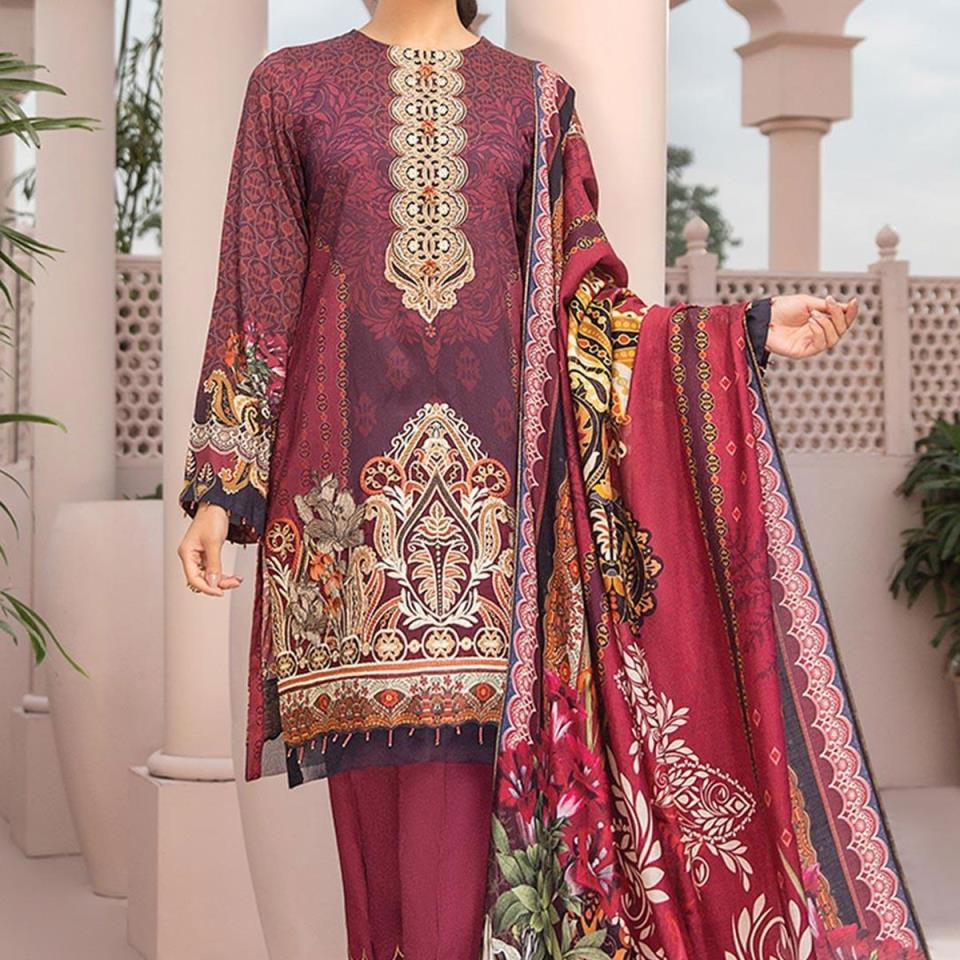 Lawn Embroidered Dress 2020 With Chiffon Dupatta - (DRL-434) (UnStitched)