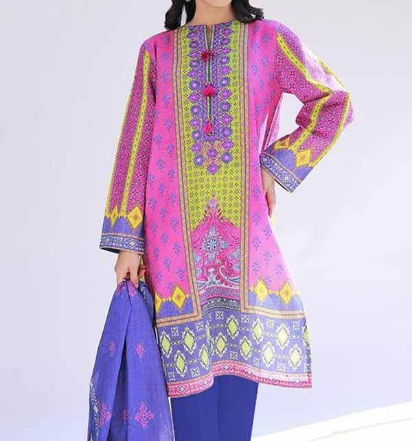 Lawn Embroidered Dress 2021 with Chiffon Dupatta UnStitched (Unsicthed) (DRL-696)