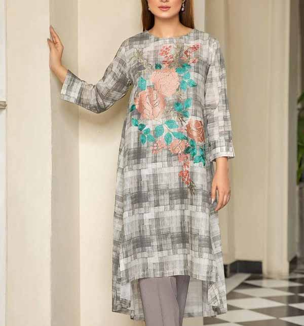 (AZADI SALE) Lawn Embroidered Dress 2021 with Chiffon Dupatta (DRL-786)