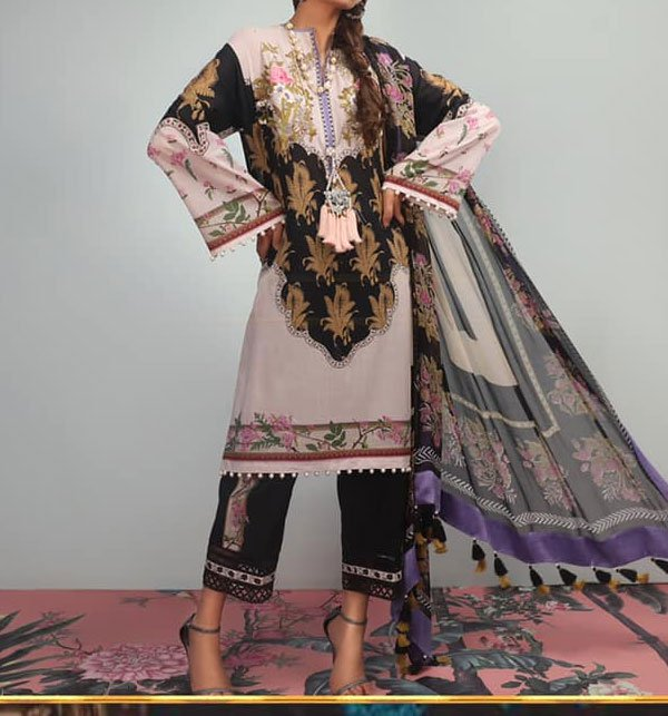 Lawn Embroidered Dress With Chiffon Dupatta (DRL-343) (Unstitched)