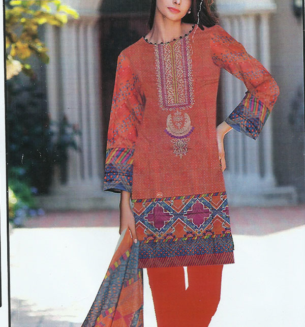 Lawn Embroidered Dress With Chiffon Dupatta (DRL-368) (Unstitched)