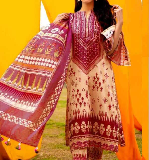 Lawn Embroidered Dress with Chiffon Dupatta UnStitched (DRL-913)