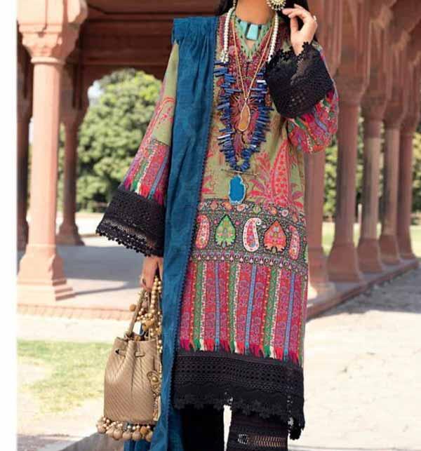 Lawn Embroidered Dress With Chiffon Dupatta (DRL-687)
