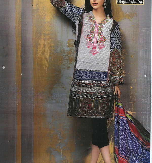 Lawn Embroidered Dress With Lawn Dupatta (DRL-369) (Unstitched)