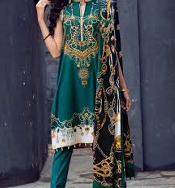 Lawn Embroidered Suit With Chiffon Dupatta (DRL-359) (Unstitched)