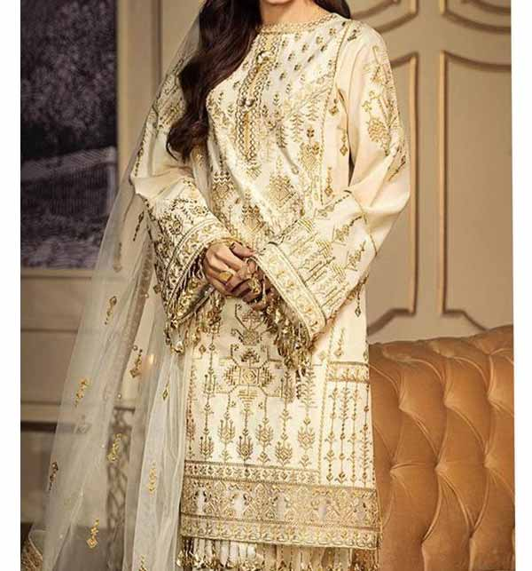 Lawn Full Heavy Embroidered Suit With Embroidered Dupatta UNSITCHED (DRL-877)