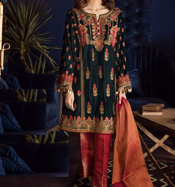 Lawn Embroidery Black Suit With Chiffon Printed Duppata (DRL-462) (Unstitched)