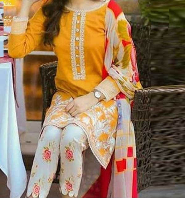 Lawn Full Heavy Embroidery Dress With Embroidery Trouser UnStitched (DRL-495)