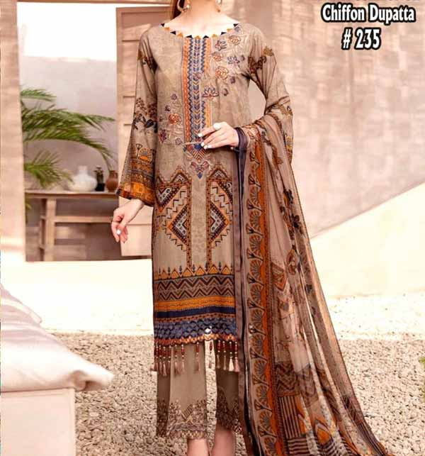 Lawn Embroidery Suit With Chiffon Dupatta  (DRL-893)