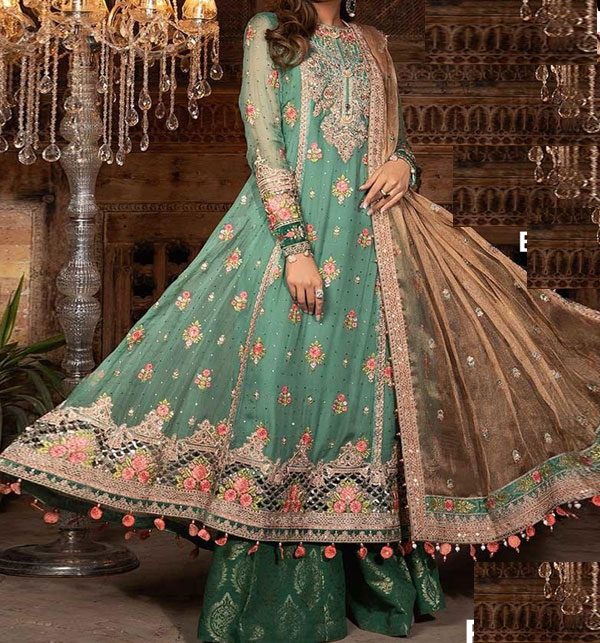 Lawn Embroidery Suit With Chiffon Printed Duppata (DRL-463) (Unstitched)