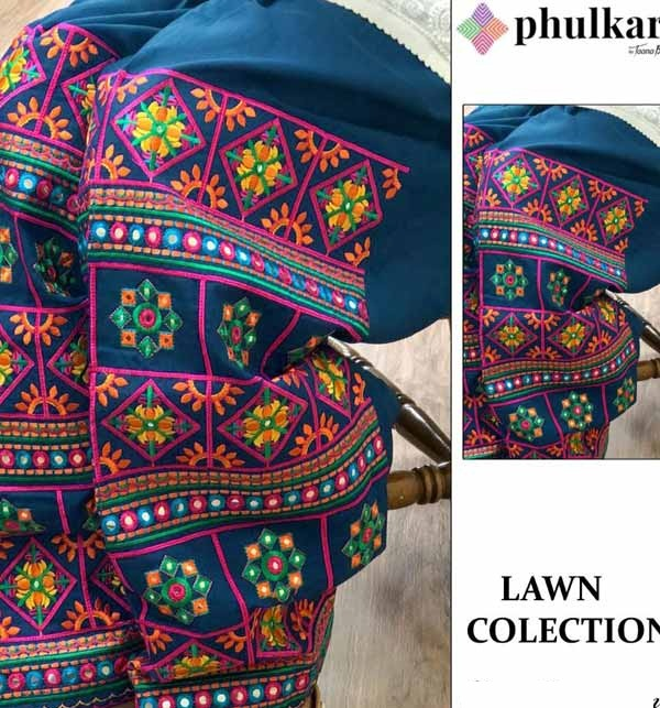 Lawn Heavy Embroidery Dress With Phulkari Trouser (Unsitched) (DRL-712)