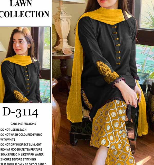 Lawn Heavy Embroidery Dress With Embroidered Trouser 2 Pec (DRL-721)