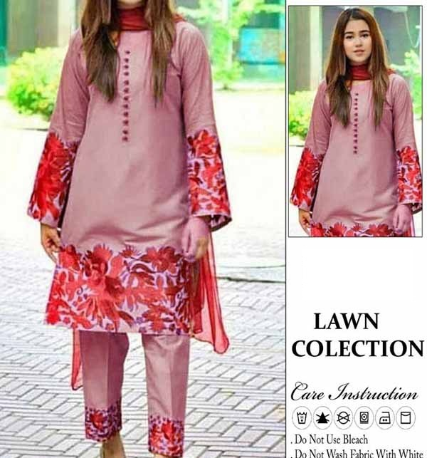 Lawn Heavy Full Embroidered Dress 2-Pcs UnStitched (DRL-800)