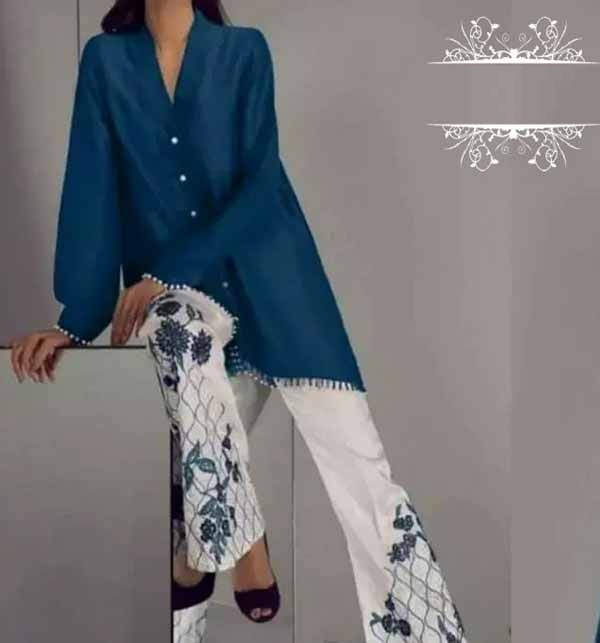 Lawn Heavy Sequence Embroidery 2 PCS Suit With Beautiful Embroidery Trouser (DRL-683)