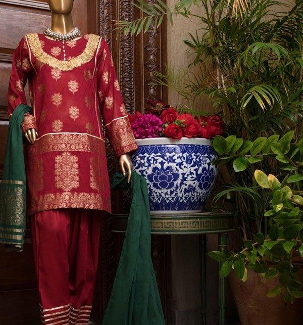 Banarsi Jacquard Broshia Lawn Suit With Jacquard Dupatta (Unstitched) (JL-03)