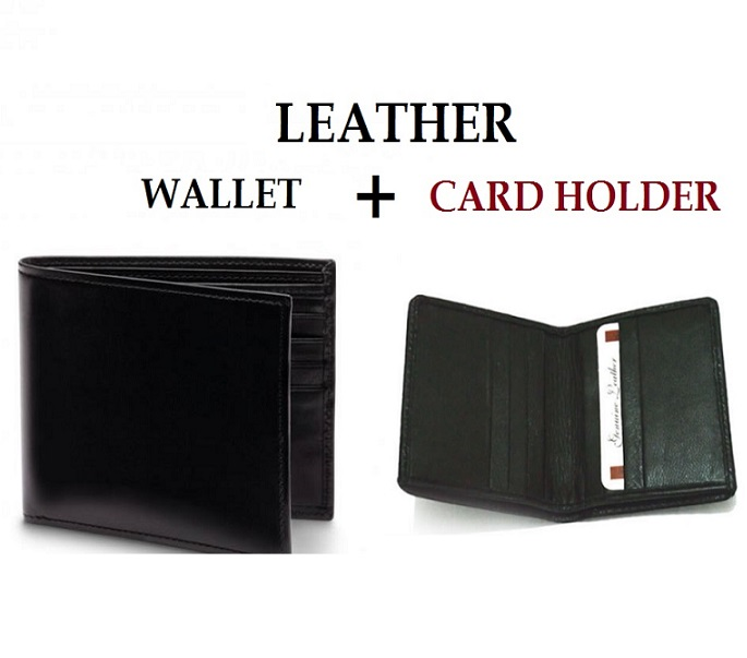 Leather Wallet + Card Holder BLACK