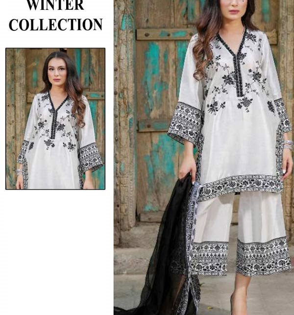 Linen 2 Pcs Full Embroidered Suit WIth Embroidery Trouser Unsicthed (LN-245)