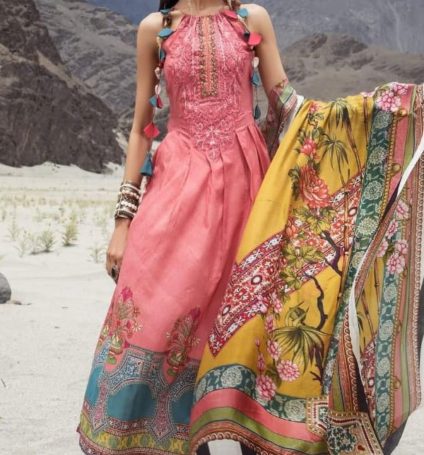 Linen Embroidered Dress With Wool Shawl (Unstitched) (LN-63)