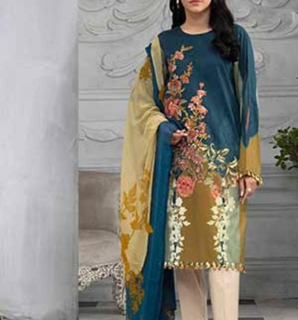 Linen Embroidered Dress with Linen Duppata UnStitched (LN-220)