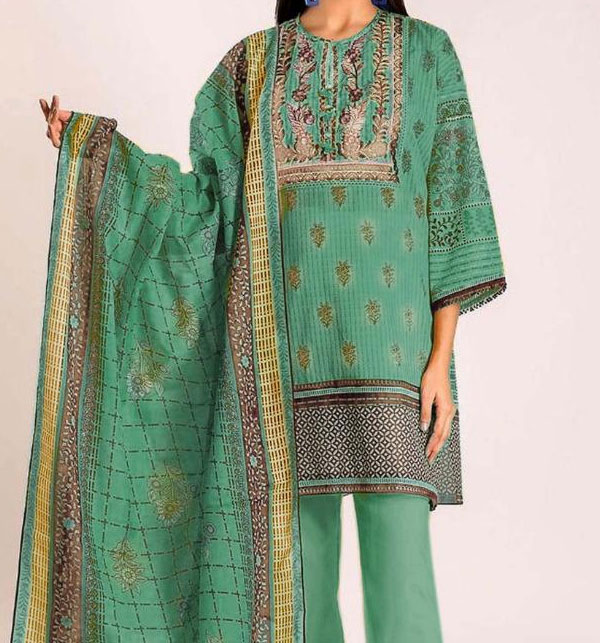 Linen Embroidered Dress with Wool Shawl Dupatta Unstitched (LN-101)
