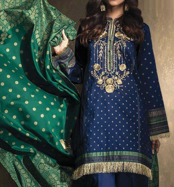 Linen Embroidered Dress with Wool Shawl Dupatta Unstitched (LN-102)