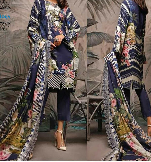 Linen Embroidered Dress With Wool Shawl - Winter Collection 2020-21 (Unstitched) (LN-146)