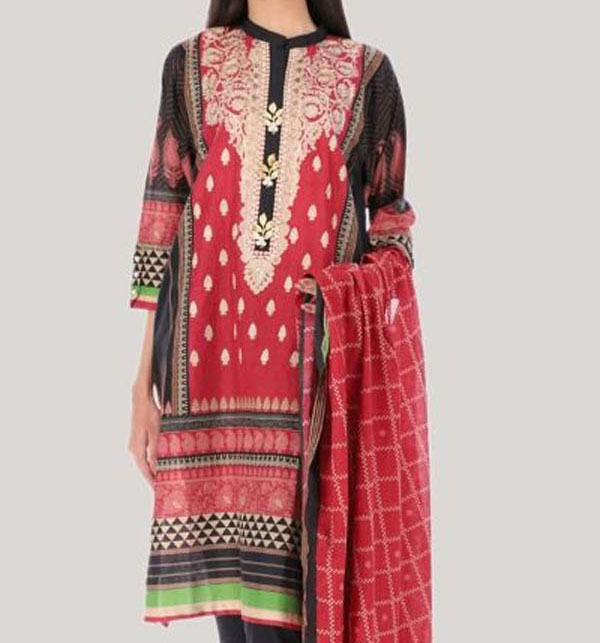 Linen Embroidered Suit with Wool Shawl Dupatta (LN-119) (UnStitched)