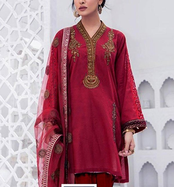 Linen Heavy Embroidered Suits With Wool Shawl Unstitched (LN-79)