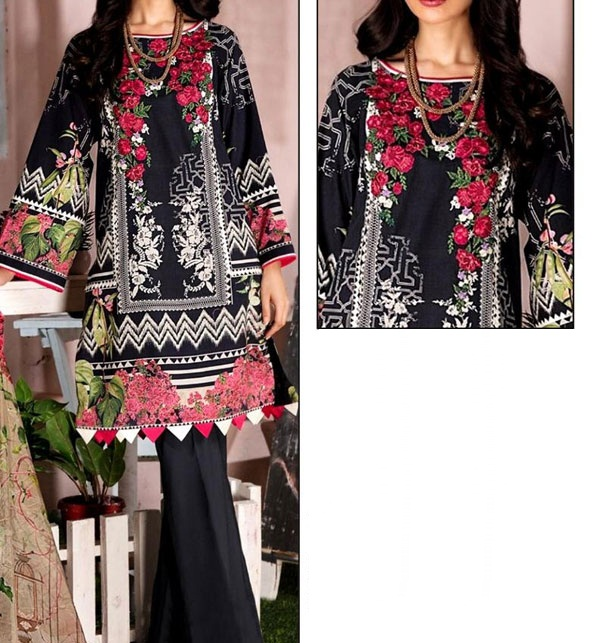 Linen Embroidery Dress With Wool Shawl Dupatta (Unstitched) (LN-141)