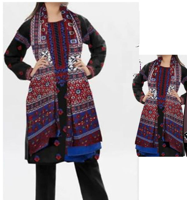 Linen Heavy Embroidery Suit With AJRAK SHAWL PRINT (Unstitched) (LN-154)