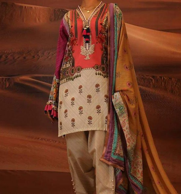LINEN Embroidery Suit With Wool Shawl Duppata (Unstitched) (LN-68)