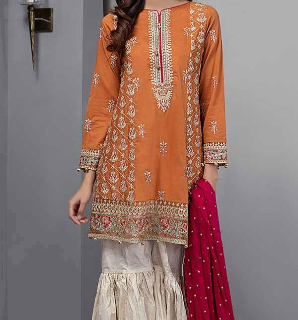 Linen Embroidery Suit With Wool Shawl Printed Trouser (Unstitched) (LN-110)