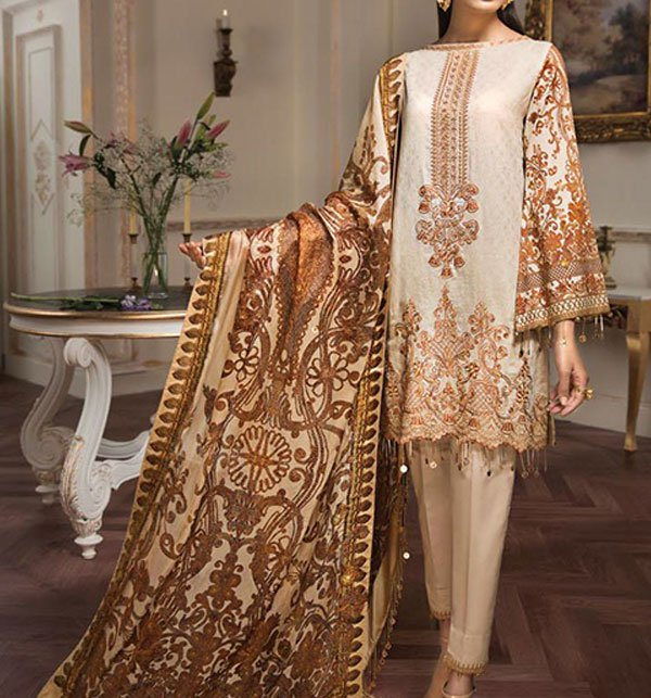 Linen Neck Embroidery Suit With Wool Dupatta (LN-114) (UnStitched)