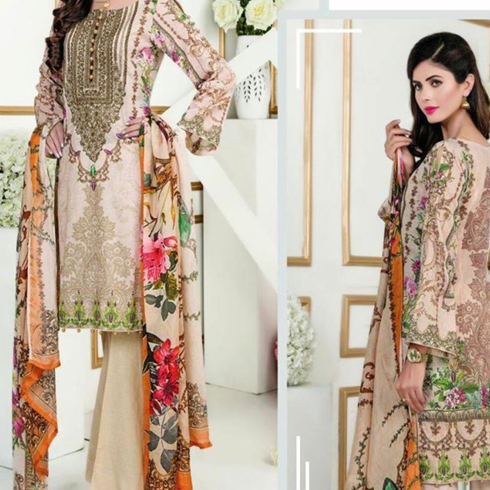 Linen Suit With Chiffon Dupatta (Unstitched) (LN-61)