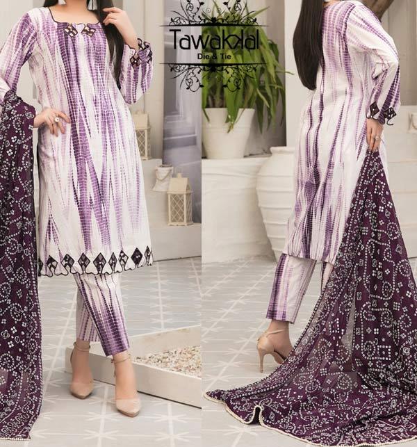 Linen Tie & Dye Suit Design 2021 With Linen Dupatta - Winter Collection 2021 (LN-246)