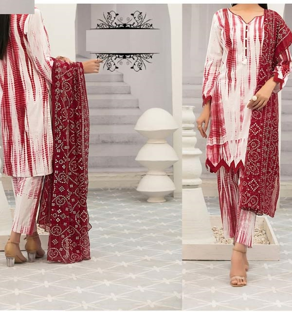 Linen Tie Dye Dreess Design 2021 With Printed Linen Dupatta (LN-248)