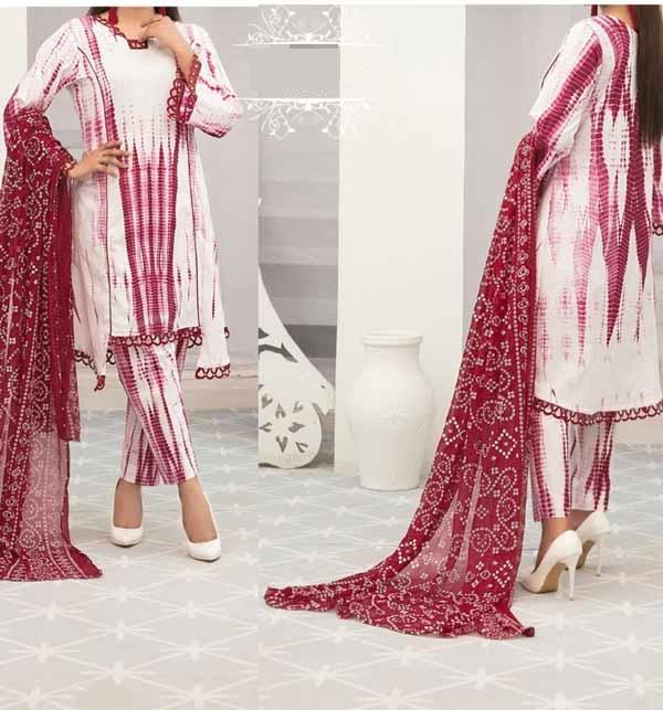 Linen Tie Dye Dreess Design 2021 With Printed Linen Dupatta (LN-261)