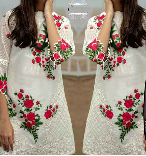 Linen White Sequence Embroidered Dresses With Embroidered Trouser (Unstitched) (LN-223)