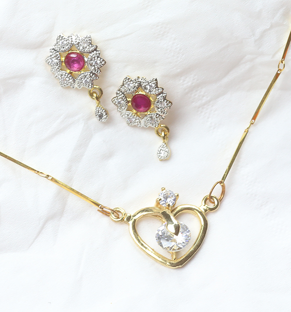 Love Heart Locket Set With Earing (PS-168)