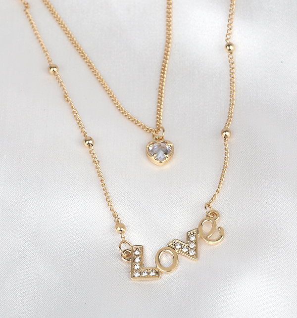 Love & Heart Pendant With Chain (PS-294)